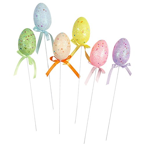 Easter Flowers Basket - Decorated Foam Easter Egg Shaped Easter Basket Flower Picks, Set of 6 (Multi-color Glittered)
