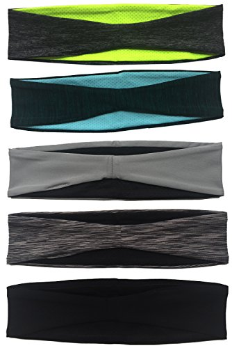Calbeing Hair Bands for Womens - Workout Sweat Band, Dry Fit, Noslip Grip Hair Accessories, Gray Head Wraps Black Headbands 5 Pcak