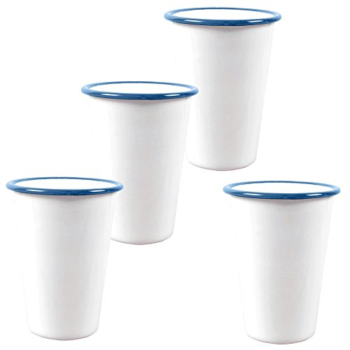 Enamelware - Set of 4-14 Ounce Tumbler -Solid White with Turquoise Rim