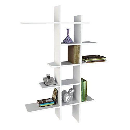 Alphamoebel Bücherregal, Schweberegal, Wandregal, Holzregal, Hängeregal, Wandboard, Regal fürs Wohnzimmer I Weiß I 90 x 150 x 22 cm IAtlanta 0097