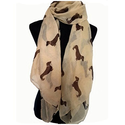 Eudora Fashion 9 Color Animal Dachshund Dog Print Scarf Pashmina Women Scarves (Beige)