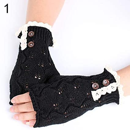 5aa3a7a0e Holrea Fashion Fingerless Lace Button Knitted Gloves Winter Warm Knit Arm  Warmers Hand Wrist Warmer Thumb Hole Mittens Texting Gloves Knitted  Fingerless ...