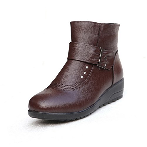 1TO9 Womens Boots Solid No-Closure Lambskin Boots Brown ofqjc