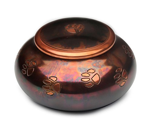 Milano Raku Paw Print Design Brass Pet Cremation Urn - (Wholesale Cremation Urns)