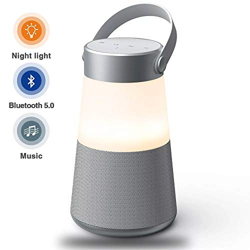 LED Bluetooth Speakers,Bluetooth 5.0 Night Light Portable Wireless Speaker 360 HD Surround Sound & Rich Stereo Bass,Dual Pairing,USB Disk/AUX-in/TF Card,FM Radio,for Camping Outdoors Home and Party