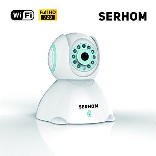 SERHOM IP Camera WIFI 720P,Wireless Surveillance Camera,Network webcam,Two way Audio Microphone inside,Onekey WIFI Setting,Pan/Tilt Movement,Night Vision Baby Pet Video Monitor by SERHOM