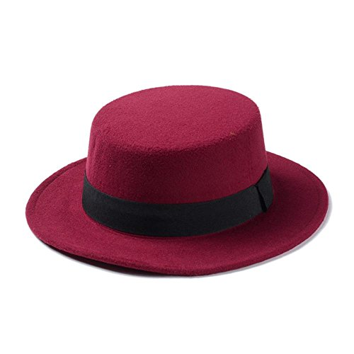 CNBEAU Brand New Wool Boater Flat Top Hat For Women's Felt Wide Brim Fedora Hat Laday Prok Pie Chapeu de Feltro Bowler Gambler Top Hat (Color : Wine Red, Size : 58cm) (Womens Gambler Hat Felt)