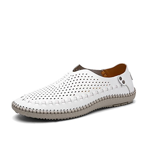 VILOCY Men's Casual Handmade Leather Loafer Shoes Breathable Hole Slip On Driver Boat Moccasins White Hollow,44 ()