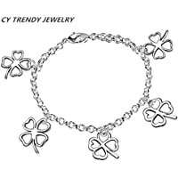 New Women 925 Sterling Silver Plated 5 Lucky Clover Charm Chain Bracelet Jewelry