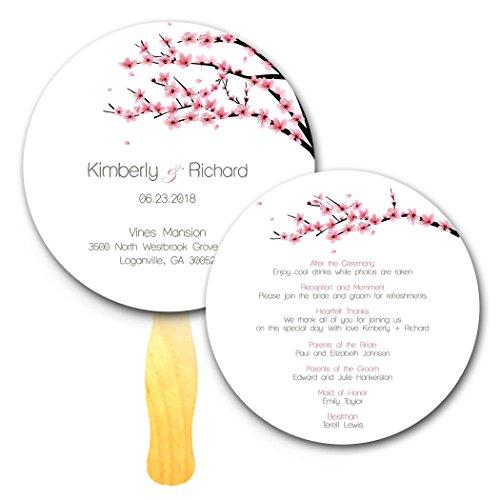 Circle Cherry Blossom Program Wedding Hand Fans - Set of 20 - Double sided custom Print on Jumbo Popsicle Wavy Wooden ()