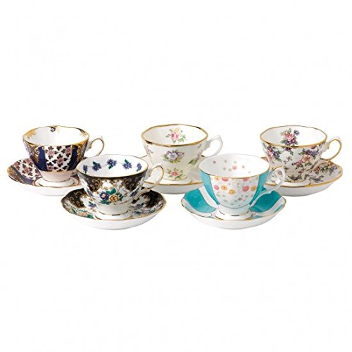 - Royal Albert 40017543 100 Years 1900-1940 Teacup & Saucer Set, Multicolor , 5 Piece