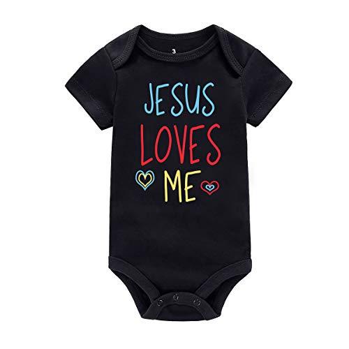 AMMENGBEI Baby Boys Girls Rompers Christian Jesus Loves Me Summer Bodysuit (0-3M, Black)