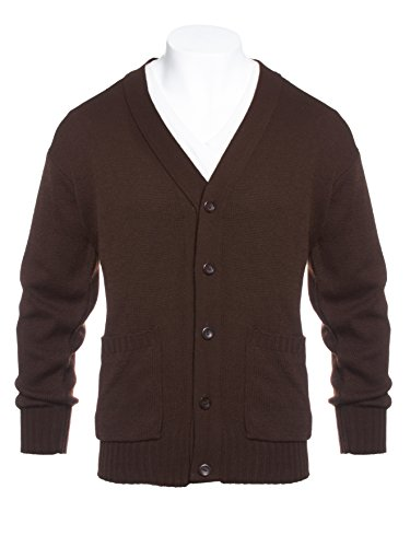 Yarn Art Mens Big and Tall Knit Long Sleeve V-Neck Two Pocket Cardigan Sweater Brown 3X
