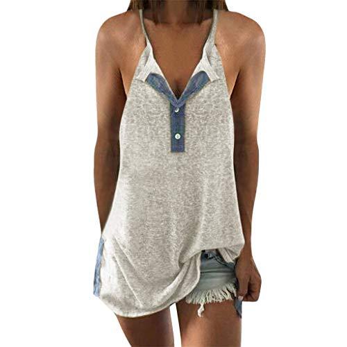 (Women Short Sleeve Button Cami Tank Tops,Summer Loose Patchwork Cotton Blended Shirt Tunic Blouse Tops Sunmoot)