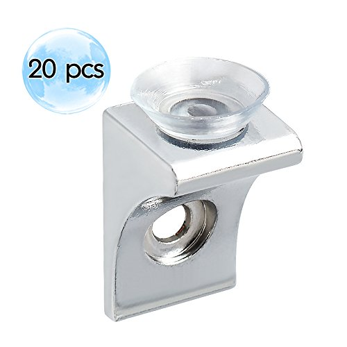 Alise 20 Pcs Corner Brace Fixing Glass Shelf Bracket Pegs Supports with Chuck Wall Hanging,BL2100-20P Chrome - Scratches Glass Fixing