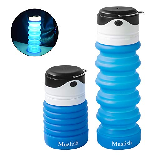 Muslish Collapsible Water Bottle with LED Light, FDA Approved Food-Grade Silicone Portable Leak Proof BPA Free Foldable Water Bottle for Camping Travel Hiking, 18oz(Skye Blue)