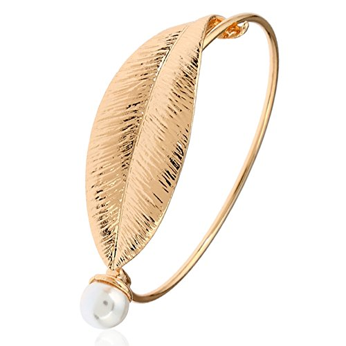 Fashion Style Retro Alloy Gold Plated Leaf Bracelet, Unique Charms Pearl Bracelets,Vintage Simple Easy Open Bangles Bracelet For Women - Flower Pearl Cuff