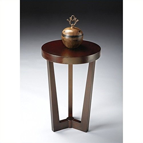 Contemporary Merlot Finish Wood (Contemporary Round Accent Table in Merlot Cherry Finish)