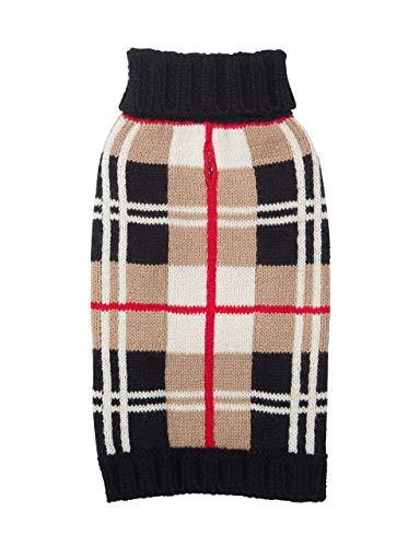 Dog Sweater - Tan Plaid (Burberry-Like) by Fab Dog, 16 - Designer Dog Fab