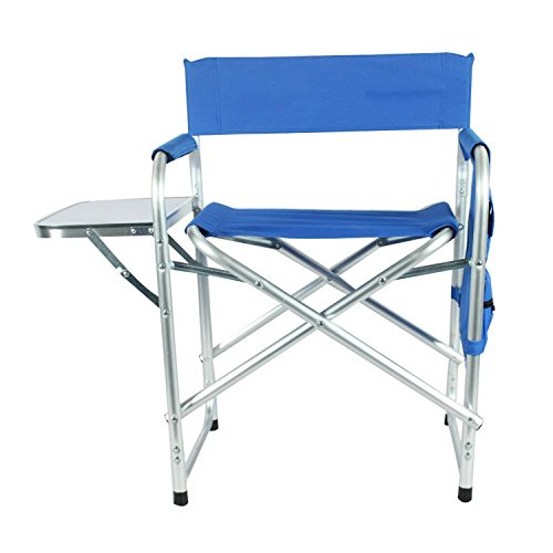 Aluminum Portable Director's holder Folding Chair with Side Table Supports 300lbs by YUEBO