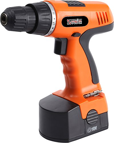 X-Power Tools-Cordless Drill with Accessories- 18 Volt- Rechargeable - Powerful Motor
