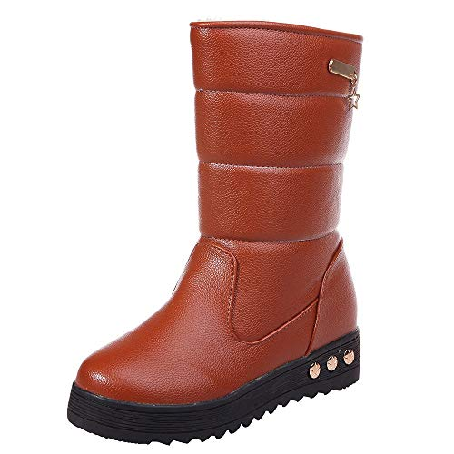Mysky Fashion Women Vintage Leather Waterproof Warm Snow Boots Ladies Casual Solid Round Toe -