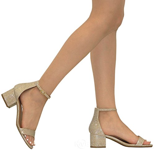 f3333a31a90 MVE Shoes Women s Open Toe Single Band Buckle Ankle Strap Chunky Low Mid  Block Heel Sandal