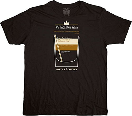 The Big Lebowski White Russian Black T-shirt Tee (XXX-Large (The Dude Abides Costume)