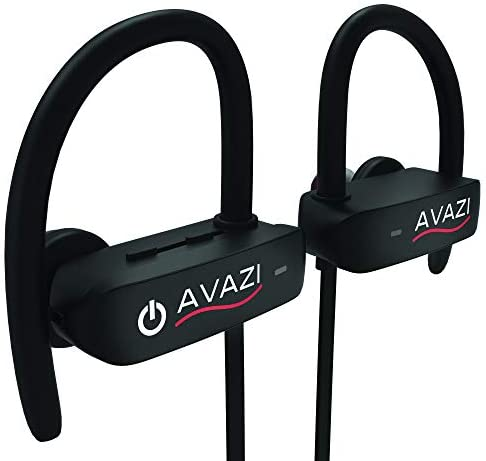 AVAZI Bluetooth Earphones w Mic, Waterproof IPX7, Over Ear Premium Wireless Sport Earbuds HD Stereo Sweatproof in-Ear Earphones Gym Running Workout 8 Hour Battery Noise Cancelling Headsets