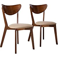 Coaster Home Furnishings  Kersey Mid Century Modern Scandinavian Upholstered Seat Cushion Bentwood Dining Side Chair (Set of 2) - Chestnut/Beige Fabric