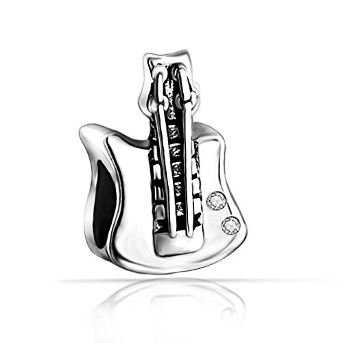 The Kiss I Love Music Piano Violin Guitar 925 Sterling Silver Bead Fits European Charm Bracelet (Flower Blossom) (Electric Guitar)