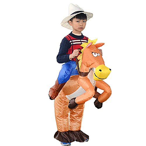(YOWESHOP Inflatable Cowboy Rider Costume Horse Riding Me Fancy Dress Funny Suit Mount Kids (Kid Size, Brown)