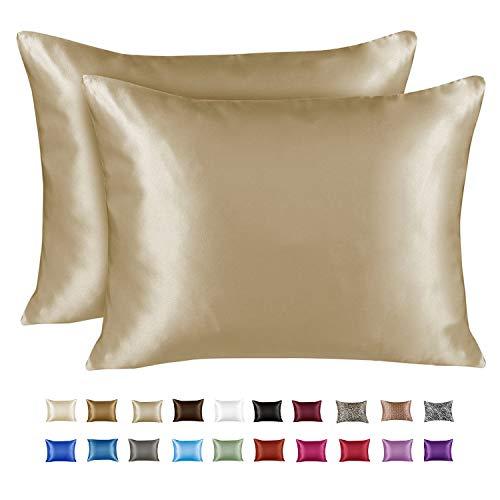 Shop Bedding Luxury Satin Pillowcase for Hair - King Satin Pillowcase with Zipper, Champagne (Pillowcase Set of 2) - Blissford (Luxury Bedding Gold)