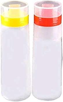 Amazon Com Hofumix Squeeze Bottle 4 Hole Jam Squeeze Bottle Resin Condiment Dispenser With Cap Lids For Sauce Ketchup Jam Mayonnaise Oil 300ml Yellow Red 2 Pcs Home Improvement