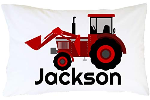 CLB Goods Tractor Pillowcase Personalized Gift for Kid Boy Toddler Tractor Lover Christmas Stocking Stuffer Birthday Easter Basket Stuffer, Red Farm Tractor Customized Name Pillow Case Slip