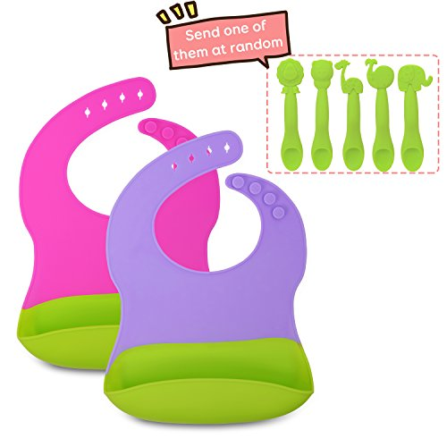 Baby Bib, 2-Pack Silicone Bibs,Soft and Waterproof Bib,1 Silicone Spoon as Gift