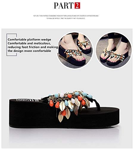 Perle Haut Multicolore Paillette Tongs Antidérapant De Pantoufles Femmes Sandales Talon Vacances Bohême D'été Plage fpqIwxx5O