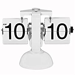 Esup Retro Flip Down Clock Classic Modern Digital Mechanical with Stainless Steel Flip Internal Gear Operated (Simple White)