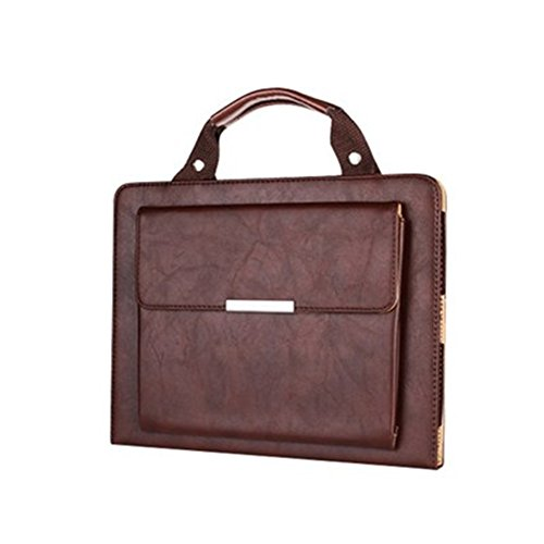 iPad 2/3/4 Case Bag,Ultra Portable Brown Handle Carrying Leather Sleeve Case Bag Executive Smart Cover Built-in Flip Stand-Sleep/Wake Up Feature with outside pocket for Apple iPad 2/3/4