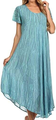 Sakkas Faye Cap Sleeved Cotton Caftan Cover Up Dress