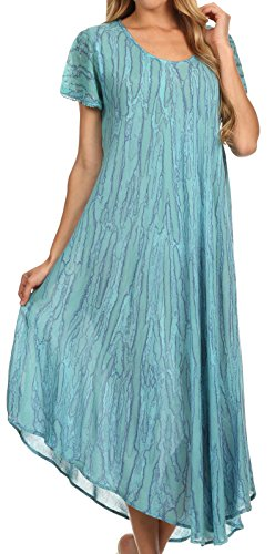 Sakkas Faye Cap Sleeved Rayon Caftan Cover Up Dress