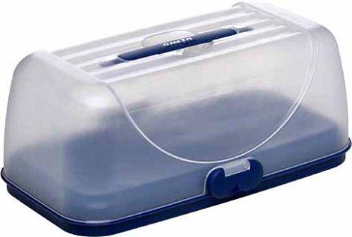 Emsa 503941 Rechteckige Kuchenbox mit Haube, 35 x 18 cm, Blau, Superline