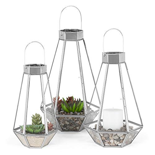 Best Choice Products Set of 3 Indoor Outdoor Modern Decorative Metal Faceted Hurricane Candle Holder Centerpiece Lanterns for Parties, Events, Weddings w/Clear Glass, Mirrored Base - Nickel