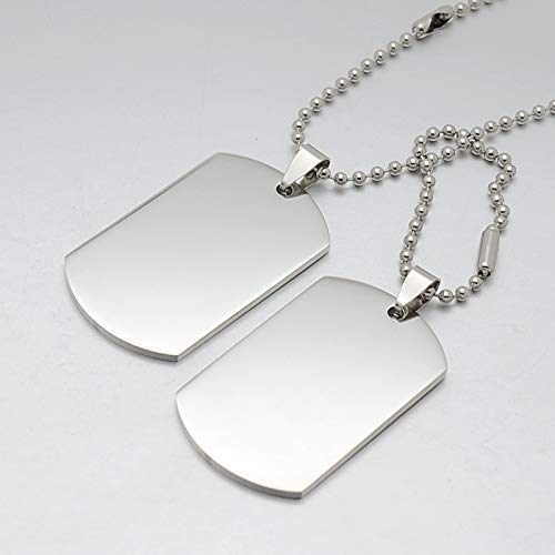 Metal Color: No Engrave Davitu Personalized Engarving A Set of Two Pieces Silver Tone Stainless Steel Blank Double ID Dog Tag Pendant Necklace W//Chain 24