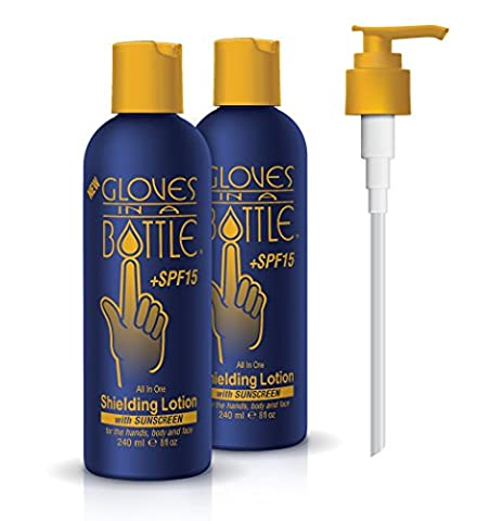 Gloves In A Bottle Shielding Lotion+ SPF 15 With Pump! (8 fl oz-240 ml) 2 PACK- Great for Dry Itchy Skin! Grease-less and Fragrance Free!