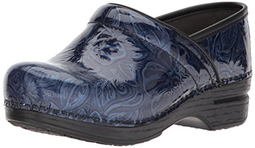 Dansko Women's Pro XP Clog, Navy Tooled Patent, 38 M EU (7.5-8 US) Tooled Leather Shoes