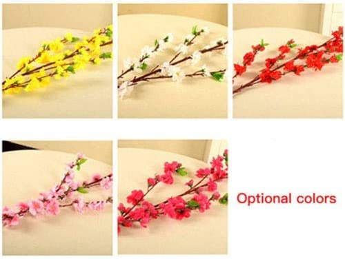 Redsa Artificial Spring Peach Blossom Cherry Blossom Flowers 10pcs Peach Branches Tall Fake Flower Arrangements for Wedding Home Office Party Hotel Garden Yard Tree Decoration