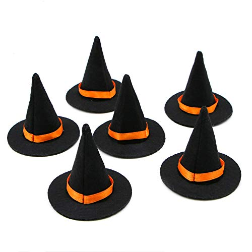Miniature Witch - JETEHO 6 Pieces Black Mini Felt Witch Hats for Miniature Work DIY Hair Accessories Crafts
