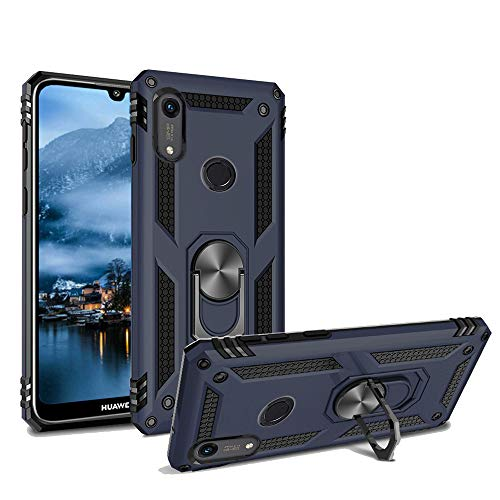 Phone Case for Huawei Y6 2019 /Y6 Prime Armor Heavy Duty 360 Rotatable Ring Kickstand Cover & Magnetic Car Mount Grip Shockproof Back Case for Huawei Honor 8A(Blue)