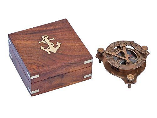 Captains Compass Cane - Hello Nauticals Store Captains Antique Brass Triangle Sundial Compass w/Rosewood Box 3